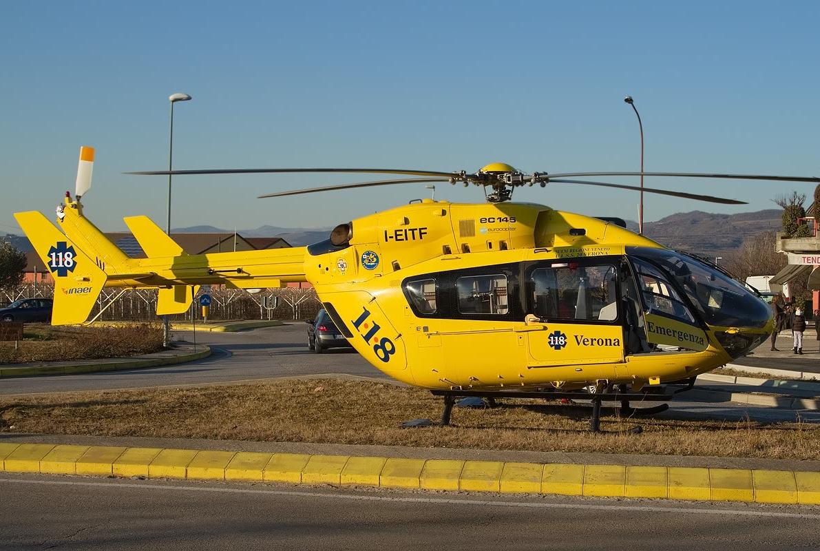 Elicottero 118 Verona : Cade dalla propria moto ricoverato in codice rosso verona