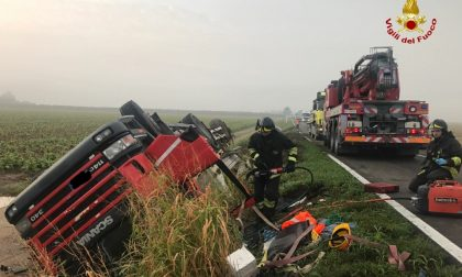 Incidente ad Oppeano, morto un camionista FOTO