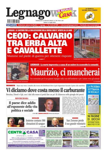 A voi la prima pagina di LegnagoWeek. Come ogni sabato il settimanale della Bassa veronese è in edicola pronto a informarvi e raccontarvi tutto ciò di importante che avviene nel territorio.