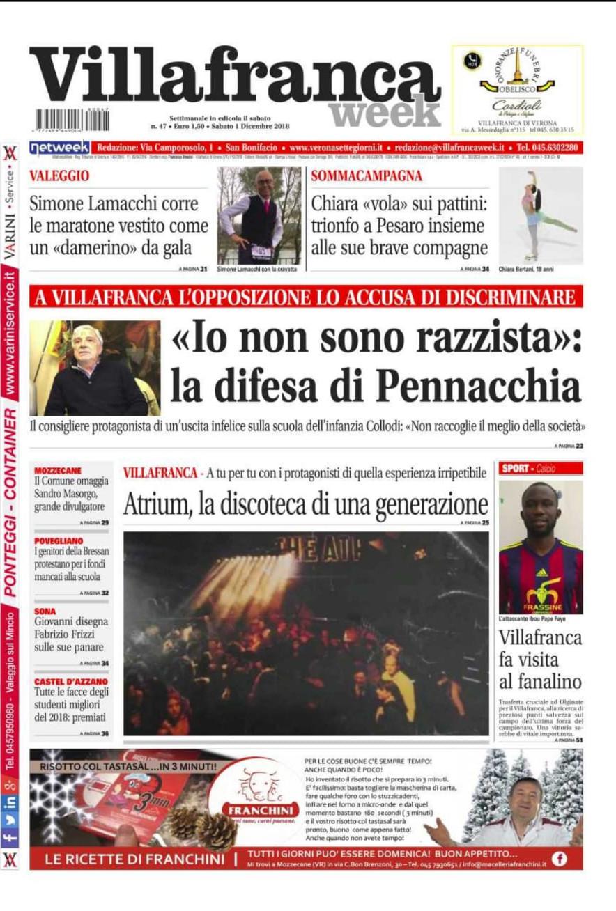 Buongiorno con Villafrancaweek! Novembre si chiude con moltissimi eventi, incontri, dibattiti e storie. Un nuovo numero aspetta proprio te in edicola da oggi fino a venerdì.
