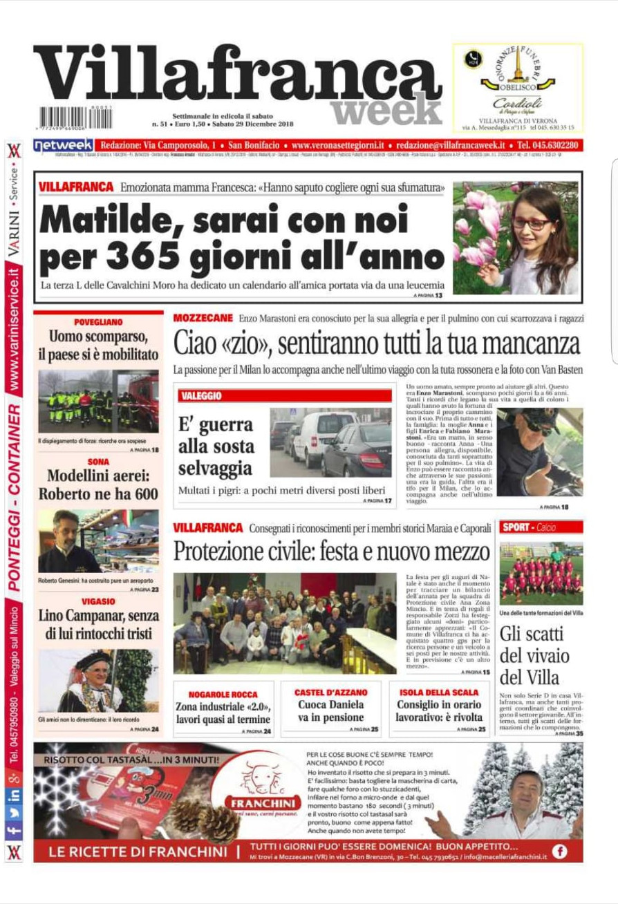 Buongiorno con Villafrancaweek. Il giornale che parla del tuo territorio è già in edicola!