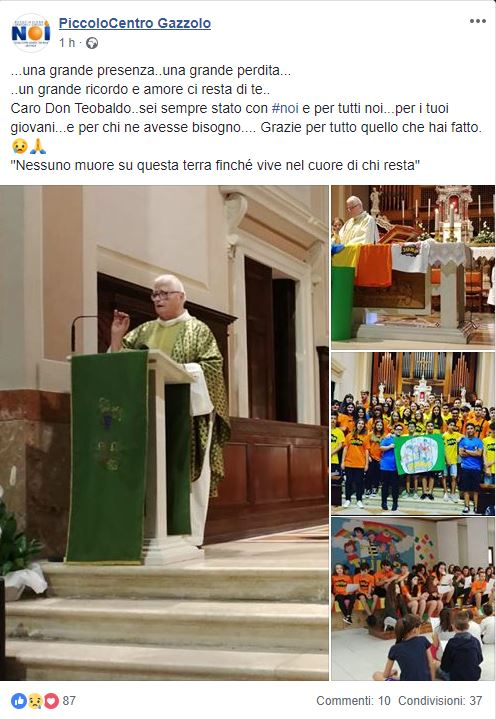 Addio don Teobaldo, uomo umile e buono. Si è spento qualche ora fa il parroco di Gazzolo, il dolore della comunità è immenso per un uomo che ha amato e donato molto ai fedeli.