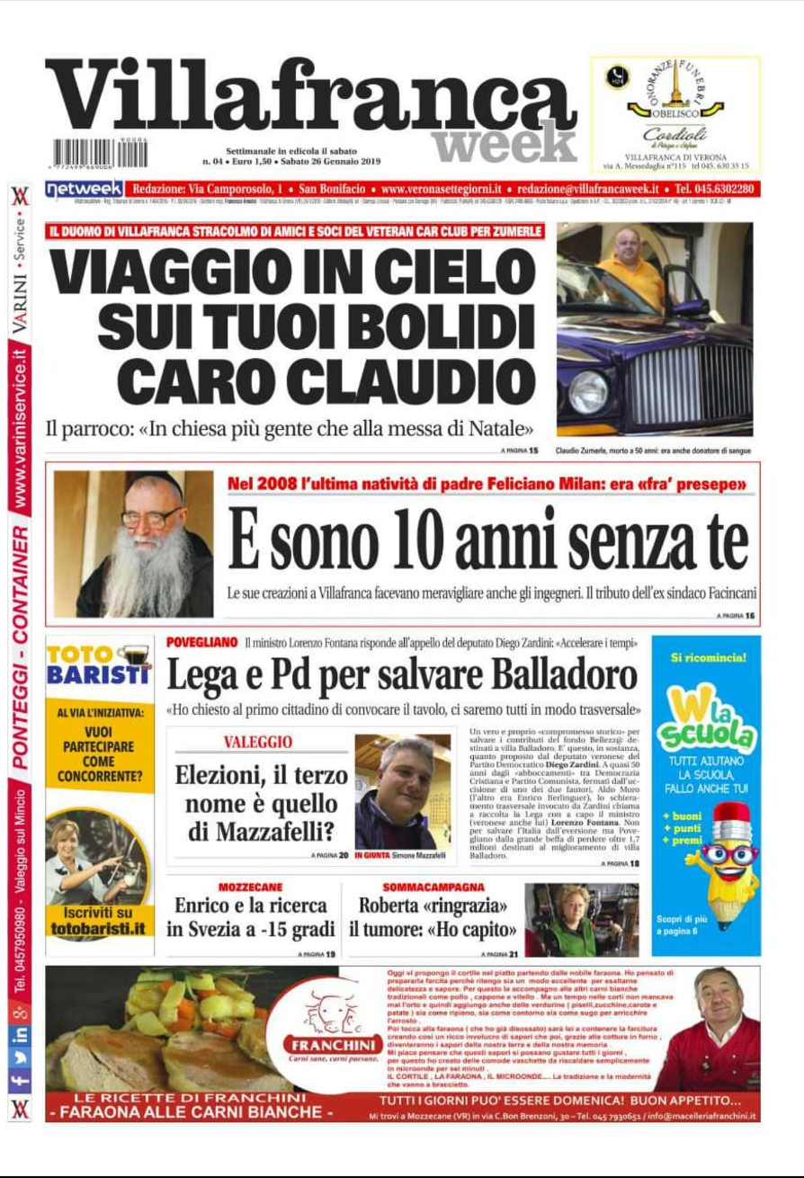 La prima pagina di VillafrancaWeek L'unico settimanale in grado di raccontarvi davvero tutto ciò che avviene sul vostro territorio è in edicola.