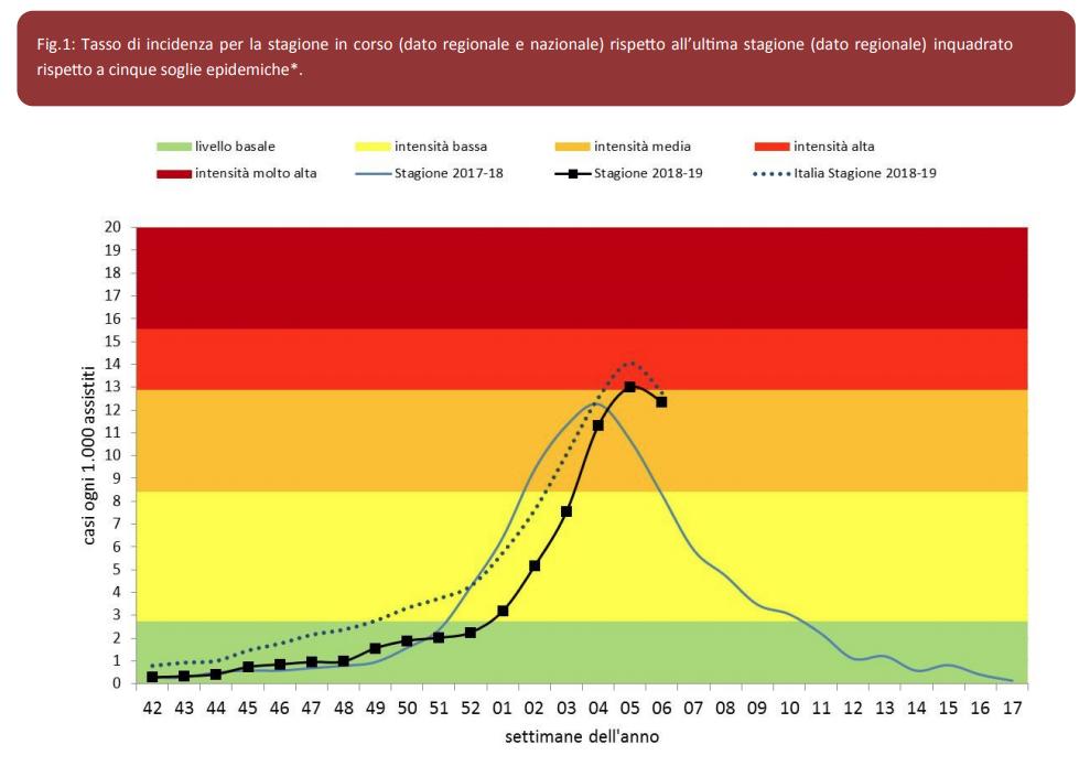 Influenza a Verona 2019 iniziata la fase di discesa