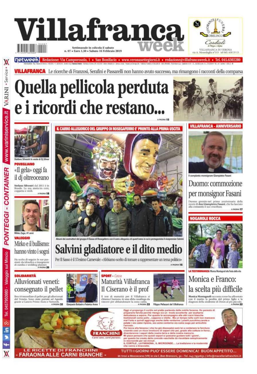 Un nuovo numero di Villafrancaweek è in edicola! Approfondimenti e storie avvincenti vi aspettando per emozionarvi e stupirvi. 16/2/2019