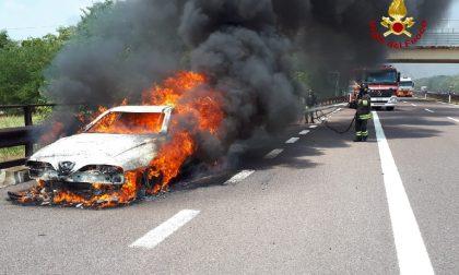 Auto in fiamme nella A22