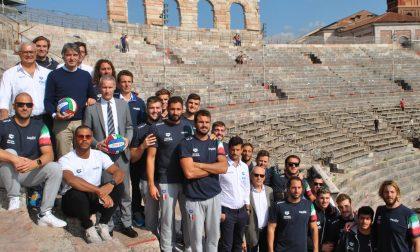 Il Settebello campione del mondo in visita all'Arena di Verona