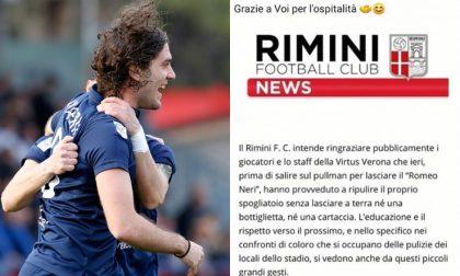 Giocatori e staff della Virtus Verona puliscono gli spogliatoi, e il Rimini ringrazia ufficialmente
