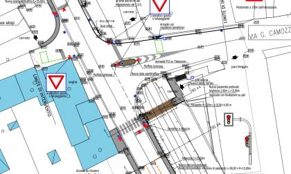 Nuovo progetto impianto semaforico e riqualificazione tra Via Camozzini e SS12 a Pellegrina
