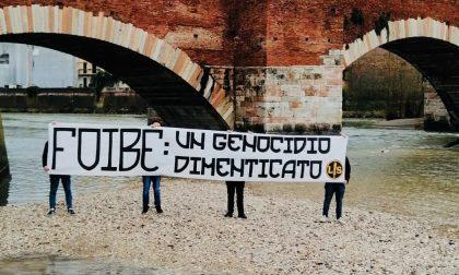 """Striscione di """"Lotta Studentesca Verona"""", """"Foibe: un genocidio dimenticato"""""""