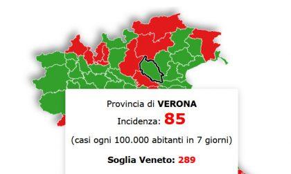 In Veneto situazione stazionaria, Verona ampiamente sotto la soglia critica